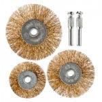 Набор щеток металл со шпильками 3 пр (50,63,75мм -плоские) ЕРМАК